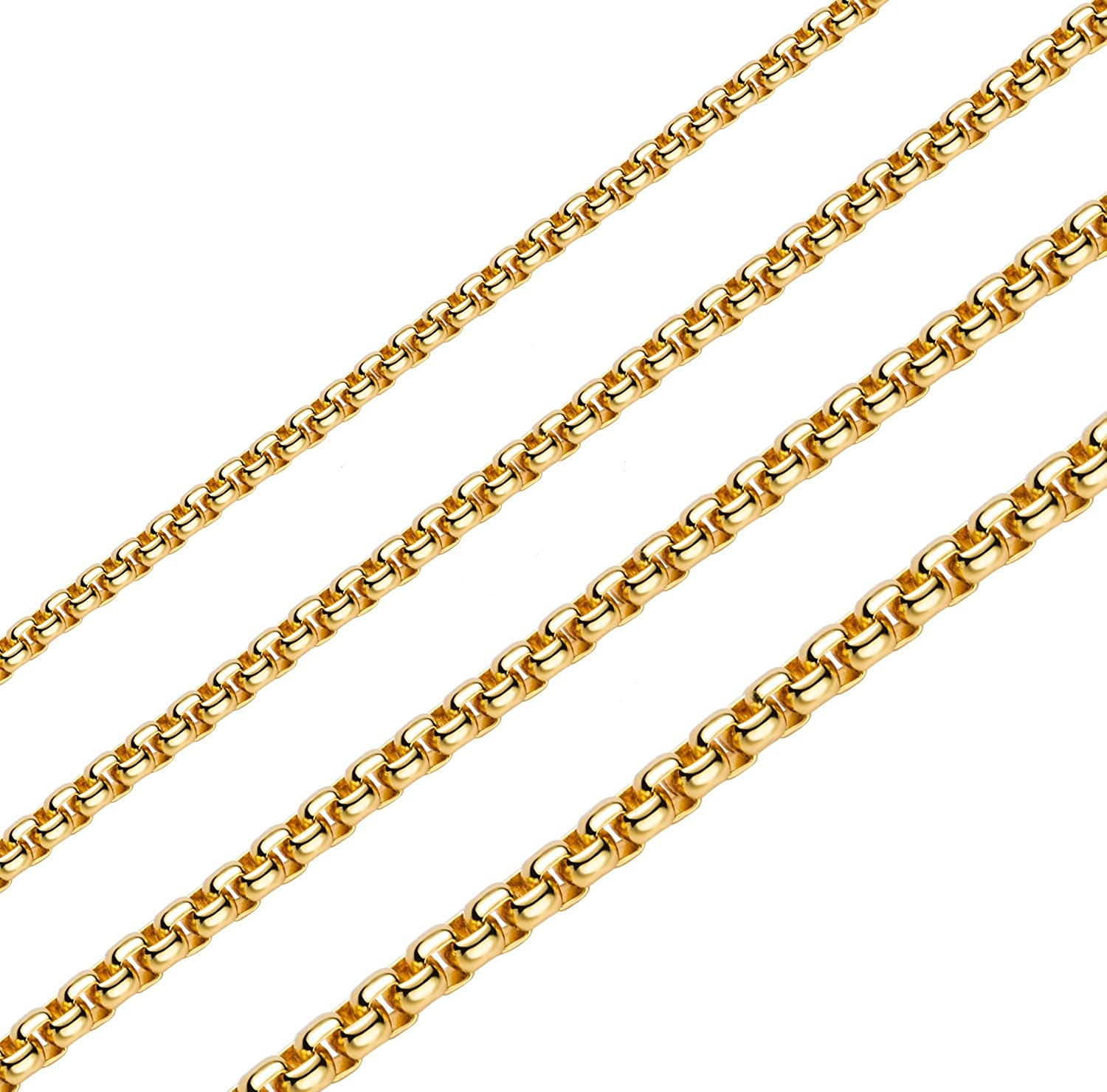 2MM 3MM 4MNM 5MM Square Rolo Chain Stainless Steel Round Box Necklace Men Women Jewelry