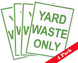ZAEO Yard Waste Only Decal - Sticker for Trash Cans, Garbage Cans and Containers - 8 Inches x 6 Inches (Green, 4)