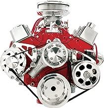 NEW BILLET SPECIALTIES SMALL BLOCK CHEVY POLISHED FRONT ENGINE SERPENTINE CONVERSION KIT WITH KEYWAY POWER STEERING PUMP PULLEY & BRACKET, MIDDLE PASSENGER-SIDE ALTERNATOR MOUNTING BRACKET, SBC WATER PUMP, CRANK, & ALTERNATOR PULLEYS