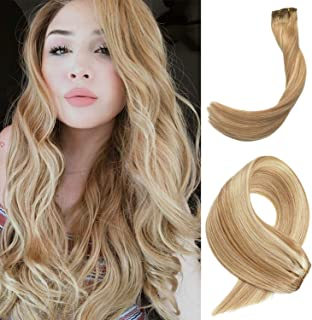 22 Inch Clip Hair Extensions Blonde Highlights Straight Remy Human Hair Clip in Extension 70 Gram 7 Pieces Strawberry Blonde with Blonde Highlighted Real Hair Clips on