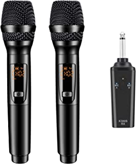 K380S Karaoke Wireless Microphone - GIKPAL Professional UHF Cordless Dual Handheld Rechargeable Microphones with Receiver 6.35mm(1/4'') Plug Dynamic Mic System Set for Karaoke,Voice Amplifier (Black)