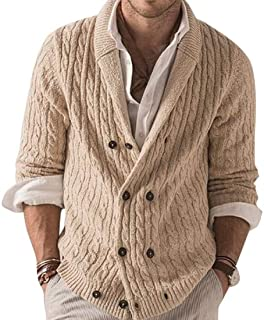 Loyomobak Men's Double Breasted Winter Sweater Long Sleeve Knitted Cardigan Coat
