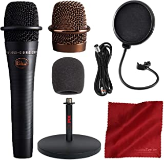 BLUE Encore 200 Studio Grade Phantom Powered Active Dynamic Microphone, Black with Mic Stand and Accessory Bundle