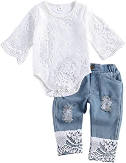 Baby Little Girls Denim Shorts Set Ruffles Sleeve Lace Tops+Denim Jean Short Outfits Set