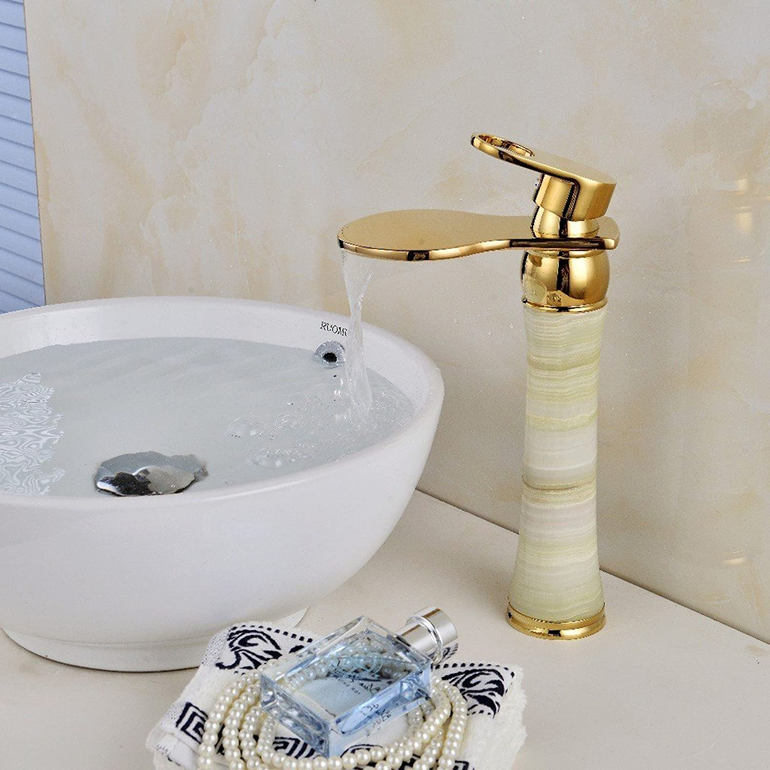 MIAORUI gold ORB all copper natural jade faucet waterfall basin hot and cold high water faucet