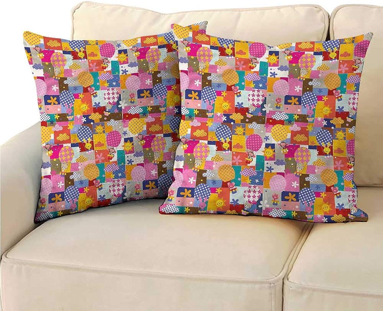 Godves Velvet Pillowcase Kids Cute Animals Air Balloons Velvet Soft Soild Decorative 24 x24  2 Pcs