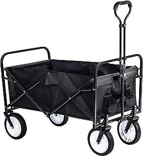 Grandma Shark Carro de jardín de servicio pesado Carro de vagón plegable Carro de mano Carro de jardín Carretilla utilitaria Carretilla