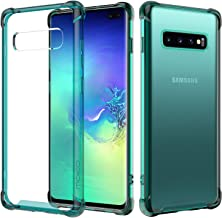 MoKo Compatible with Galaxy S10 Plus Case, Crystal Clear Case Reinforced Corners TPU Bumper + Anti-scratch Rugged Transparent Hard Panel Cover Fit with Galaxy S10+ 6.4 inch 2019 - Prism Green