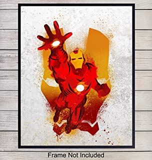 Superheroes Iron Man Art Print - Rustic Wall Art Poster - Superhero Home Decor for Boys, Kids Room, Den, Man Cave, Dorm - Great Gift for Marvel and DC Comic Book Fans - 8x10 Photo - Unframed