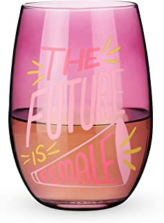 Blush The Future is Female Stemless Wine Glass, One