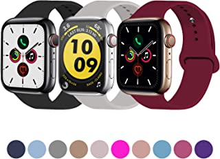 Idon 3-Pack Sport Band Compatible for Apple Watch Band 38MM 40MM 42MM 44MM, Soft Silicone Sport Bands Replacement Strap Compatible with Apple Watch Series 5 iWatch Series 4/3/2/1 All Models