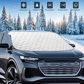 Mumu Sugar Windshield Snow Cover, 5 Layers Extra Large Wipers Protection, Snow,Ice,Sun Shade,Frost Defense,Magnetic Car Windshield Ice Snow Cover for Most Cars Trucks Vans and SUVs (Silver): image