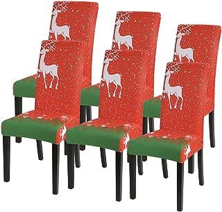 Fundas de Silla de Comedor ElásticasModernas Fundas Sillas de Navidad Extraíbles y Lavables Fundas de Licra para sillas...