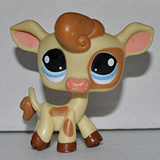 Cow #970 (Yellow, Brown Spots, Blue Eyes) - Littlest Pet Shop (Retired) Collector Toy - LPS Collectible Replacement Single Figure - Loose (OOP Out of Package & Print)