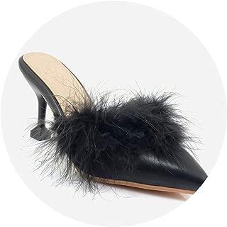 Kingwhisht Classic Handmade Fur Slippers Slingback High Heels Casual Shoes Pointed Toe Heeled Slippers