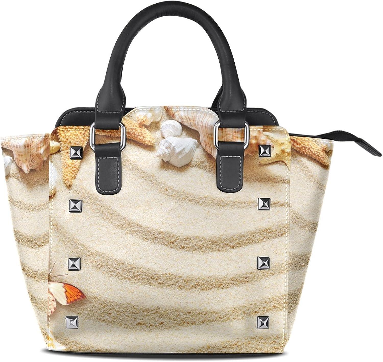 My Little Nest Women's Top Handle Satchel Handbag Sea Shell Butterfly Sand Ladies PU Leather Shoulder Bag Crossbody Bag