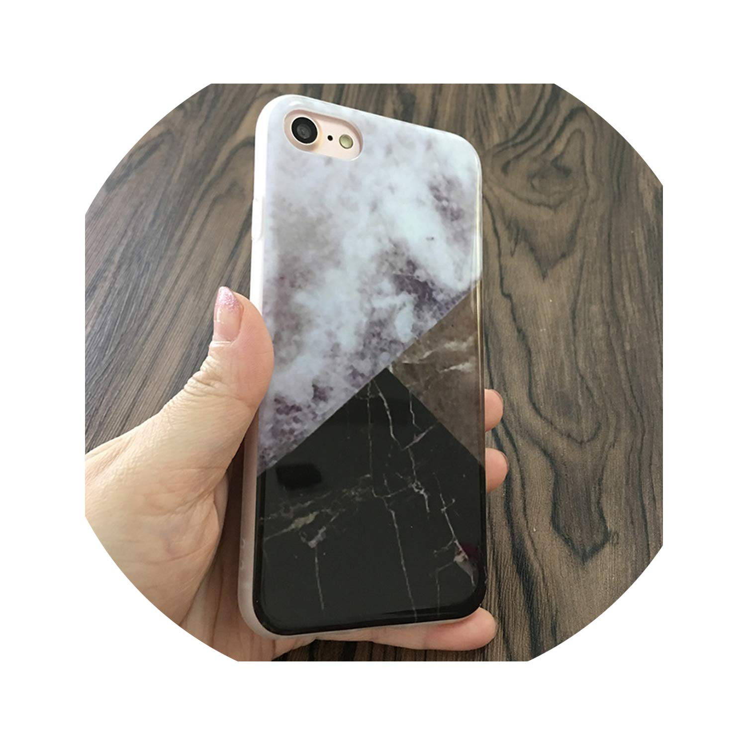 Marble Phone Case for iPhone 7 6 8 Plus 5s SE Graffiti Triangle Painted Phone Cover Back for iPhone 6 7 8 6S 5S,SpellGray,8Plus Plus 8