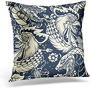 FAFANIQ Throw Pillow Covers Black Arrow Old School Snake and Rooster Head Tattoo Classic Decorative Pillows Case Square Size 18 x 18 Inches Sofa Home Decor Cushion Cover