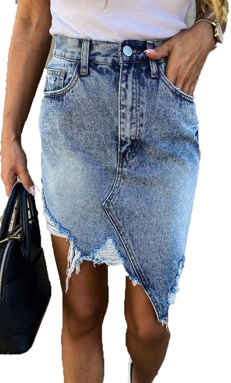 Zabmauek Women's Casual Distressed Ripped Hole A Line Irregular Denim Short Skirt with Pockets