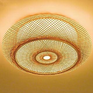 Lámpara de techo de anillo redondo Luz de techo LED Lámpara de techo vintage Lámpara de techo redonda Iluminación de techo retro Lámpara colgante tejida de mimbre de bambú natural Comedor
