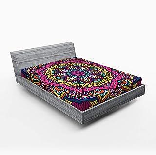 ABAKUHAUS Mandala Drap-Housse, Motif Floral coloré, Pochette Élastique Tout Confort pour Literie en Tissu Décoratif, 160 x...