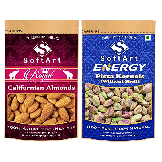 SoftArt Dry Fruits Combo of Californian Almonds & Pista Kernels Without Shell Vacuum Pack (500g Each)