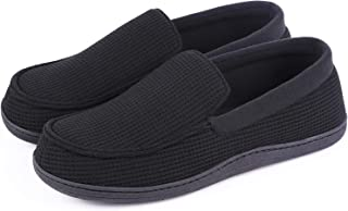 HomeTop Men's Comfort Memory Foam Moccasin Slippers Breathable Cotton Knit House Shoes w/Anti-Skid Rubber Sole