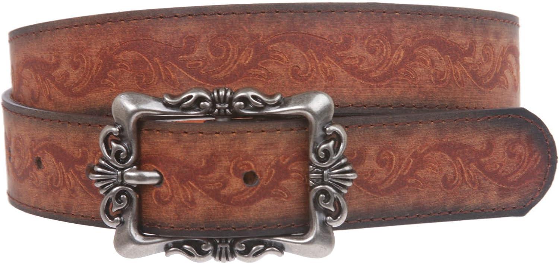 1 1 4  Floral Embossed Engraving Rectangular Buckle Leather Belt, Brown   XL 4043