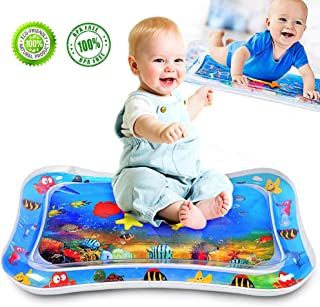 """ALLYAOFA Inflatable Tummy Time Water Play Mat, Sensory Toy for Babies Infants Toddlers Perfect Baby Toy for 3 to 12 Months Old Boy or Girl Gift, 26"""" x 20"""", 6 Floating Toys"""