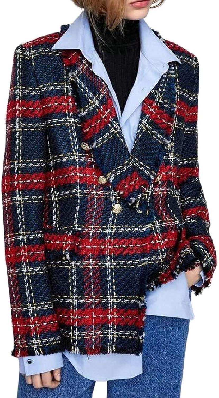 RGCA Womens Casual Fashion Slim Fit Plaid Wool Blazer Coat Jacket