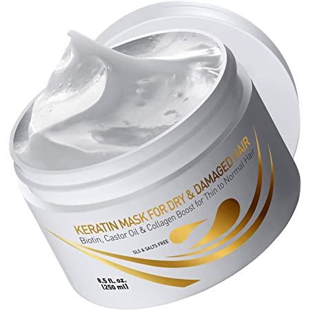 Vitamins Keratin Hair Mask Deep Conditioner - Biotin Protein with Castor Oil Repair for Dry Damaged and Color Treated Hair - Conditioning Treatment for Curly or Straight Thin Fine Hair