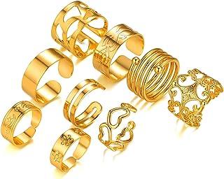 مجموعة 6-9 قطع خواتم قابلة للتكديس للنساء والمراهقات 18 كيلو مطلية بالذهب بيان خواتم عتيقة الحجم قابلة للتعديل