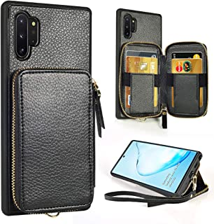 Samsung Galaxy Note 10 Plus Wallet Case,ZVE Galaxy Note10 Plus Case with Credit Card Holder Zipper Wallet Handbag Purse Wrist Strap Case Cover for Samsung Galaxy Note 10+ Plus(2019,5G),6.8 inch-Black