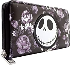 Nightmare Before Christmas Floral Pattern Coin and Card Clutch Purse Black