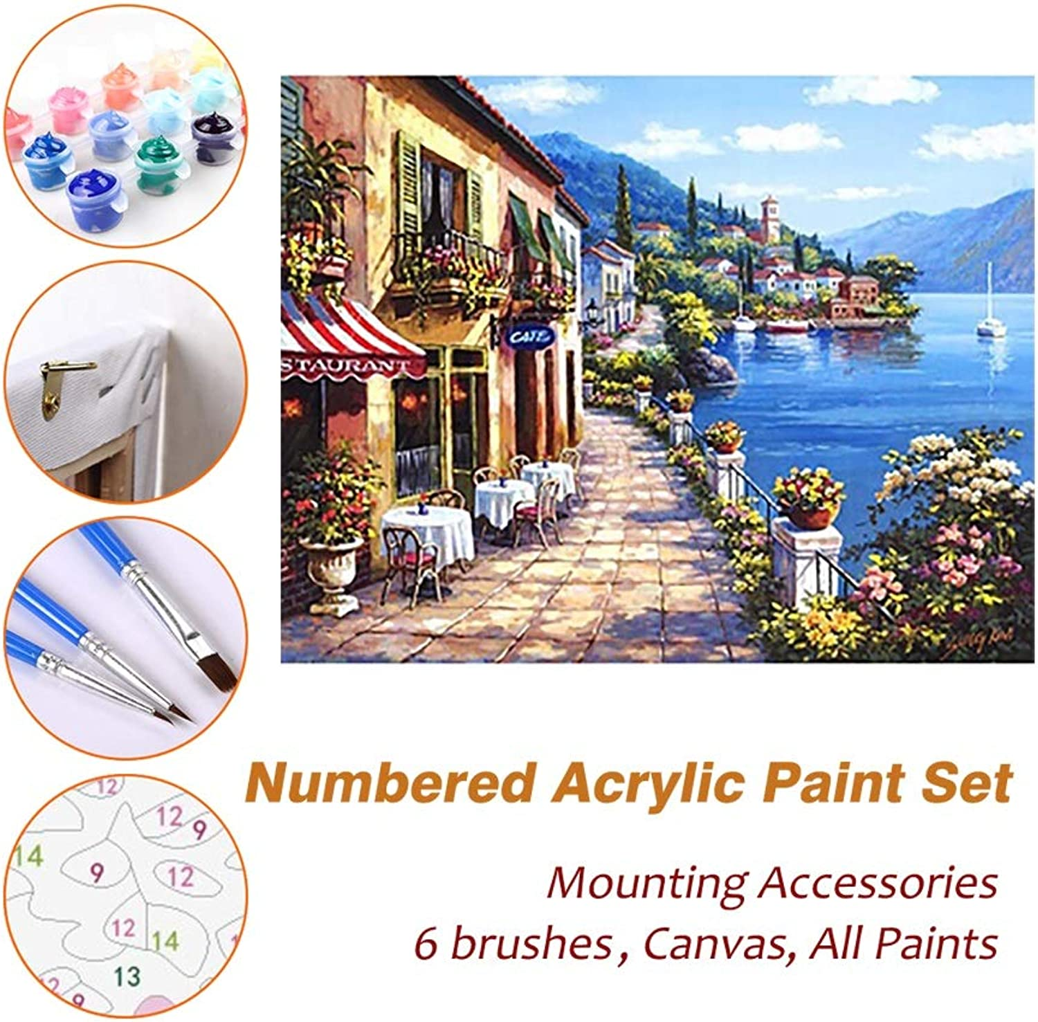 Puzzle House Paint Max Paint By Numbers Kits For Kids Adults Beginner Teens Pine Framed DIY Oil Acrylic Painting Paint Art Brush Sets, White Tables Restaurant Beside Sea 602