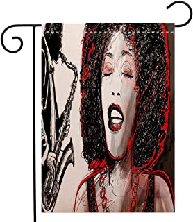 Custom Double Sided Seasonal Garden Flag Afro Decor African American Girl Singing with Saxophone Player Popular Sound Design Black Light Grey Welcome House Flag for Patio Lawn Outdoor Home Decor