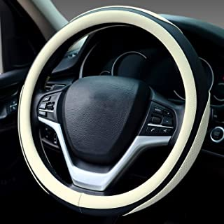 Didida Steering Wheel Covers Soft Matte Microfiber Leather Non-Slip Sweat-Absorbent for Women Men Universal 15 Inch Car Decoration (Beige)