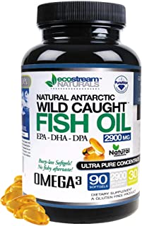 Natural Antarctic Wild Caught Omega 3 Fish Oil DPA-EPA-DHA Supplement by Ecostream Naturals - 2,900 Milligrams Triple Stre...
