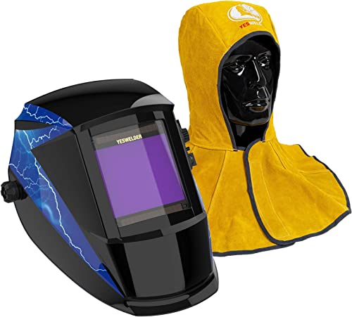 high quality YESWELDER Large Viewing Solar Powered Auto Darkening Welding Helmet & Golden Cowhide Split Leather Welding sale Hood with Neck Shoulder high quality Drape outlet online sale