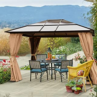 Barton 10' x 12' Hard Roof Outdoor Patio Gazebo Canopy Aluminum Poles Stand Backyard Hardtop Curtains and Netting UV-Resistant (Beige)