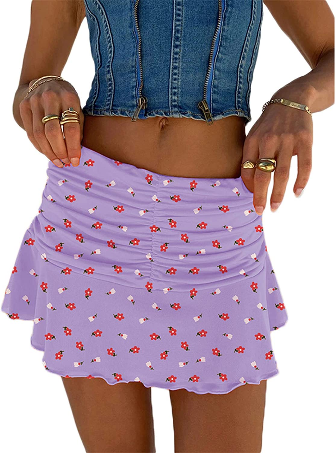 Women Y2K Ruched Ruffle Mini Skirt Casual E-Girl 90s A-line Pleated Skirts Athletic Tennis Skirts