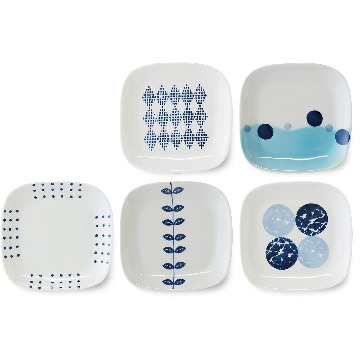 じゃないブレーキヒゲ波佐見焼 CtoC JAPAN 取り皿 角プレート 藍 デザイン 5柄組 W14.5×D14.5×H1.5(cm)