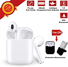Bluetooth Headphones Bluetooth Earbuds Stereo Headset IPX5 in Ear Noise Canceling Sports Headset【30Hrs Playtime】 Pop-ups Auto Pairing Headset Suitable for Airpods/Android/iPhone/Samsung (White)