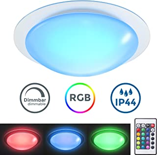 Plafón LED regulable I Lámpara de techo LED multicolor I 16 colores seleccionables con mando a distancia I Ø28cm 12W I Plafón para baño IP44 I Exterior y Interior I Blanco neutro 3000K I 16RGB