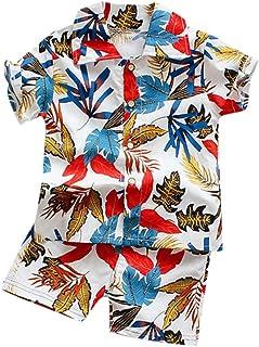 Xmiral Kleinkind Jungen 2er Outfits Kurzarm Hemd Shorts Baby Kinder Cartoon-Druck Kleidung Set
