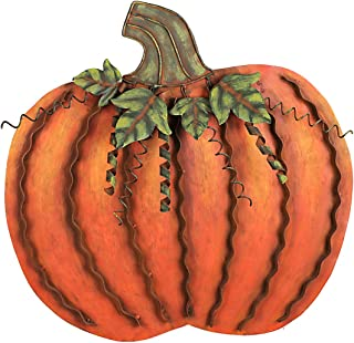 Grace Home Metal Flat Swirled Pumpkin Autumn Decor (Large, Yellow)