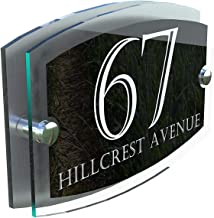 MODERN HOUSE SIGN PLAQUE DOOR NUMBER STREET GLASS EFFECT ACRYLIC ALUMINIUM NAME - ESTA5-24WB