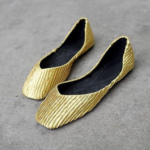 DIDIDD zapatos Perezosos Salvajes del Ballet de la Parte Inferior de la Boca Baja Cuadrada de Los zapatos Casuales,amarillo,39
