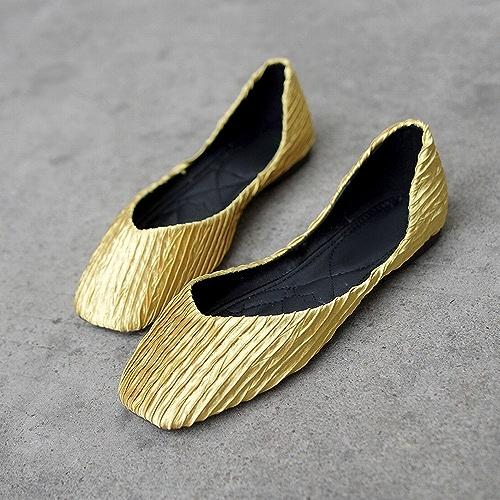 DHG Chaussures Décontractées Bouche Peu Profonde Carré Doux Ballet Sauvage Sauvage Chaussures Paresseuses,Jaune,36