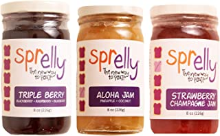 Sprelly Strawberry Jam, Triple Berry Jam, Aloha Jam | 8 oz (226g) Each | Set of 3 Jam Spreads, Natural Flavoring, Gourmet ...